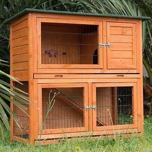 LARGE RABBIT HUTCH w/ Pull Out Tray DOUBLE STOREY Guinea Pig Cage Mordialloc Kingston Area Preview