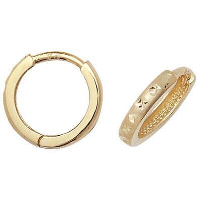9ct Yellow Gold Diamond-cut Design Small Hinged Huggie/Hoops Earrings Womens 9 Cut Design Earrings