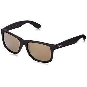 Ray-Ban Justin RB4165 622 5A 55 Non-Polarized Rectangular Men s Sunglasses  - Black Gold 58e197e589be3