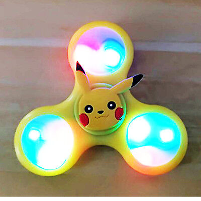 Hand Ceramic Tri-Fidget Spinner Stress Relief Toy Pikachu Pokemon LED Lights