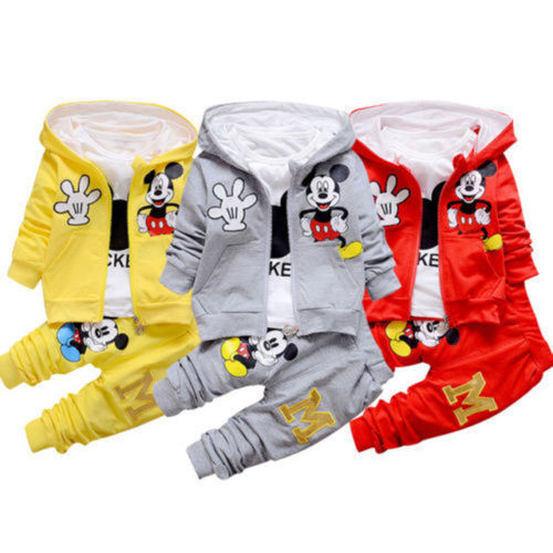 3tlg Jungen Mädchen Baby Mickey Maus Kapuzepullover Jogginganzug Outfit Anzug