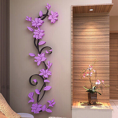 Home Decoration - Charm Home Living Room Decor 3D Flower Removable DIY Wall Sticker Decal Mural Li
