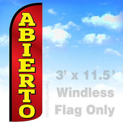 Abierto Windless Swooper Flag 3x11.5 Feather Banner Sign - Open Rq