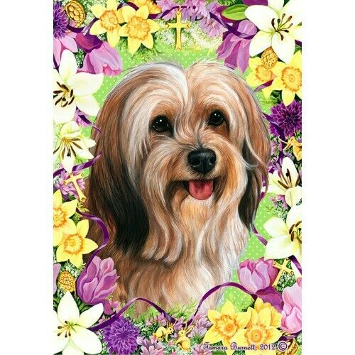 Easter House Flag - Red Sable Tibetan Terrier 33480