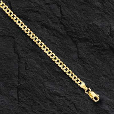 """10k Solid Gold Comfort Concave Cuban Curb Link Chain Necklace 20"""" 2.8mm 3.6 grms"""