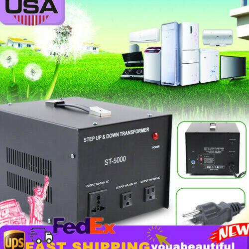 110V⇋220V 5000W Watt Step Up/Down Electric Power Voltage Converter Transformer