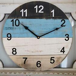 Large Wall Clock 18 Inch Rustic Distressed Blue Wooden Beach Board Shiplap De...