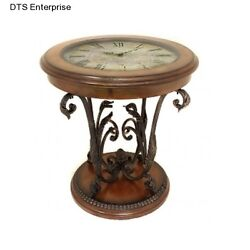 Clock End Table Decorative Glass Antique Floor Style Unique Art Crafted Coffee
