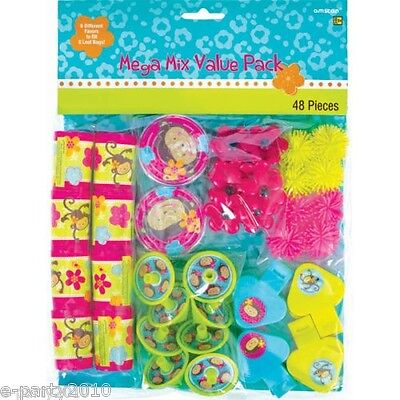 PINK MOD MONKEY LOVE FAVOR KIT (48pc) ~ Birthday Party Supplies Toys - Pink Favor Kit