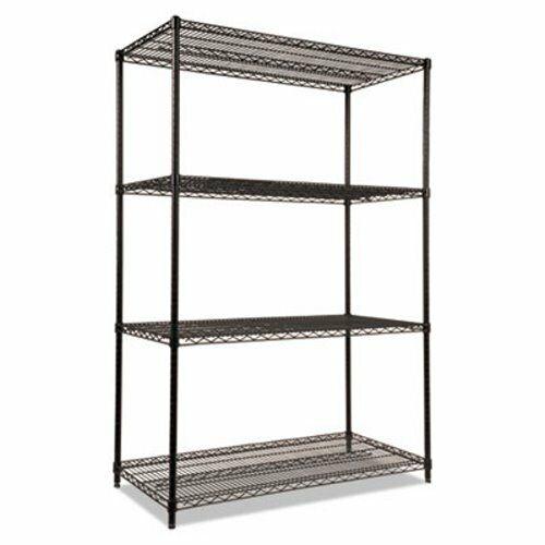 """Alera Wire Shelving Kit, 4 Shelves, 48"""" x 24"""" x 72"""", Black, Each (ALESW504824BL)"""