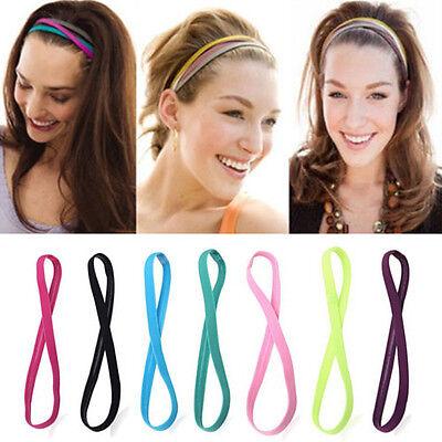 Elastic Dual Band Women Football Men Yoga Hairband Sports Headscarf Non-slip CA