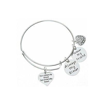 Best Friend Charm Bangle Bracelet for Women, Always Sister Forever My