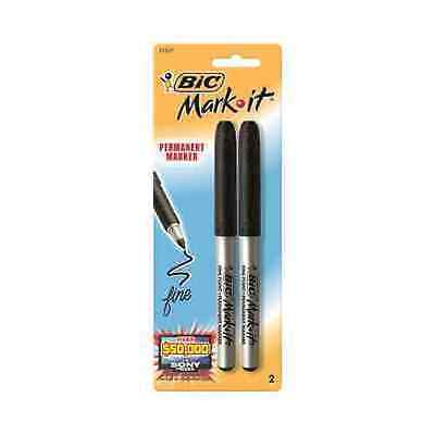 Bic Mark-it Permanent Markers - Fine Point - Black - 2 Ct. 6 Pack