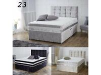 SAME DAY CASH ON DELIVERY! BRAND NEW DOUBLE CRUSH VELVET DIVAN BED WITH WHITE ORTHOPEDIC MATTRESS