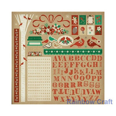 Kaisercraft 12x12 Sticker Sheet Collection Christmas theme 24 selections - Holly Bright