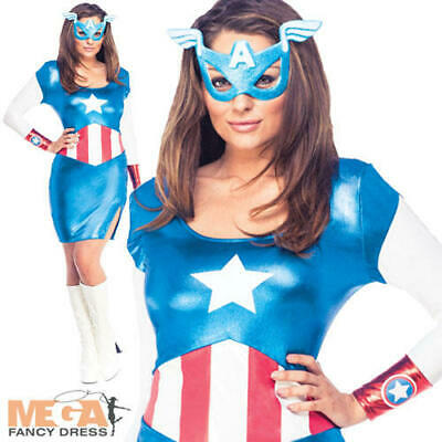 Miss Captain America Ladies Fancy Dress Marvel Avengers - Miss Marvel Kostüme