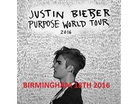 Justin Bieber 2x Standing Tickets Birmingham Arena 18/10/2016. 8pm
