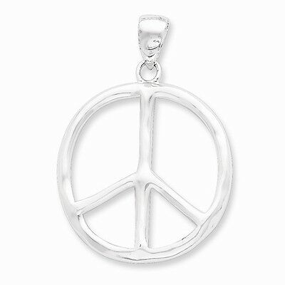 STERLING SILVER LARGE POLISHED PEACE SIGN SYMBOL PENDANT CHARM  1.7 INCH 5 GRAMS