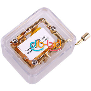 Gold Plated See-through Hand Crank Winding Wind Up Music Musical Box Gift EBAU