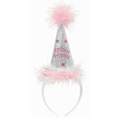 BIRTHDAY PRINCESS HOLOGRAPHIC HEADBAND ~ Party Supplies Favor Accessory Pink
