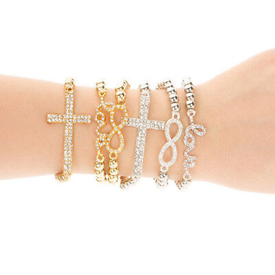 Women Rhinestone Beaded Cross Love Infinity Stretch Bracelet Chain Gift Cheap (Cheap Bracelet)