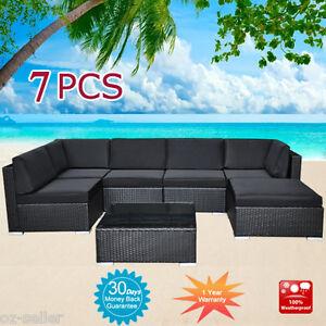 Wicker Rattan Garden Set Indoor Outdoor Sofa Lounge couch Setting Furniture