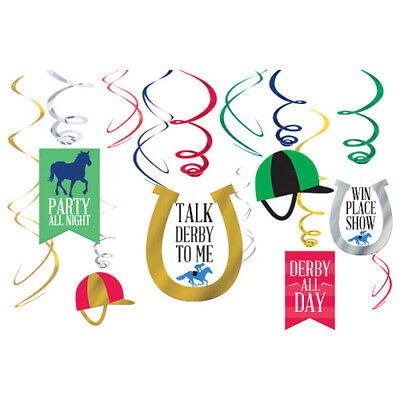 KENTUCKY DERBY HANGING SWIRL DECORATIONS (12pc) ~ Birthday Party Supplies Foil