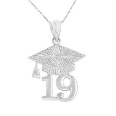 NWT 925 Sterling Silver Class of 2019 Graduation Cap Pendant Necklace