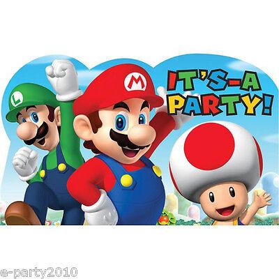 SUPER MARIO INVITATIONS (8) ~ Birthday Party Supplies Stationery Cards Notes - Super Mario Birthday Invitations