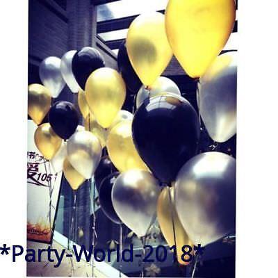 100 Pcs Gold,Silver & Black Pearl Balloons Wedding Birthday Party Baloons ballon - Black Baloons