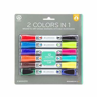 U Brands Low Odor Magnetic Double Ended Dry Erase Markers With Erasers Bullet T