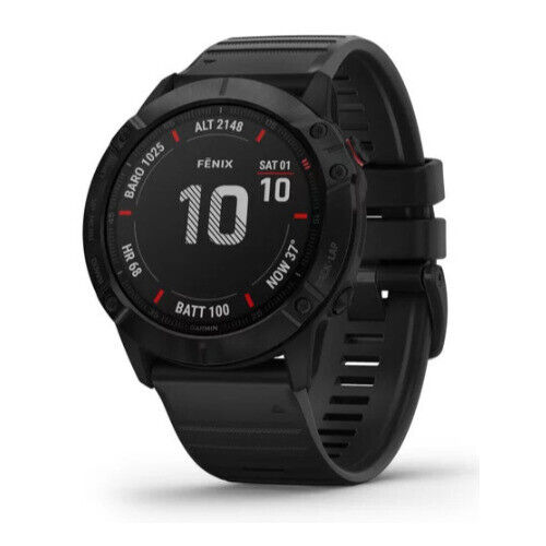 Garmin fenix 6X Pro Multisport GPS Smartwatch (Black with Black Band)
