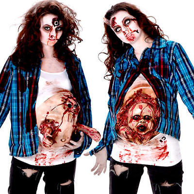 Deluxe Pregnant Zombie Baby Ladies Fancy Dress Halloween Womens Adults Costume ()