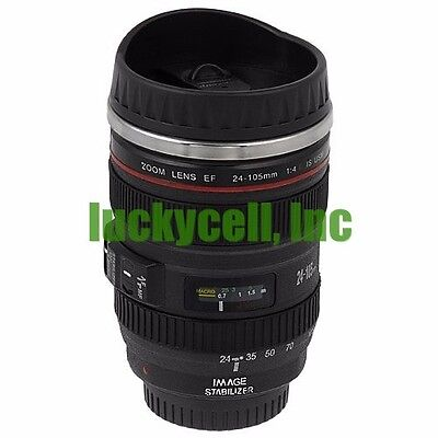 Black Canon  Ef 24 105Mm Camera Lens Thermos Stainless Steel Tea Mug Cup