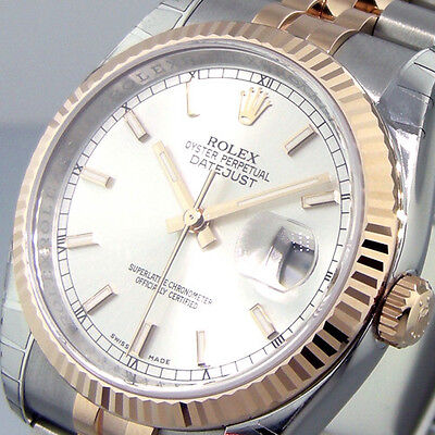 ROLEX 116231 DATEJUST 36 mm STEEL PINK GOLD JUBILEE BRACELET SILVER STICK