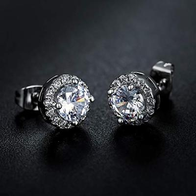 Antique Pave Earrings (Silver Antique Pave Crystal Round Earrings with Cubic Zirconia )