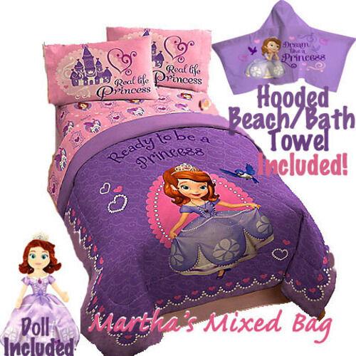 DISNEY SOFIA THE FIRST PRINCESS Girl PiNK Lavender Comforter SheetSet+Towel+Doll