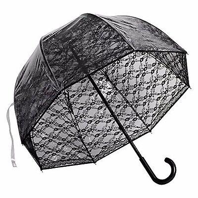 Black Lace Umbrella (Black Lace Bubble Dome Sexy Goth Umbrella Fiberglass)