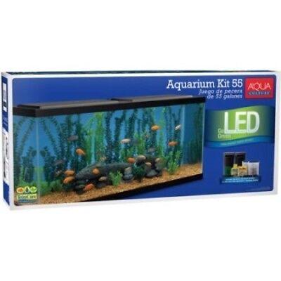 Aqua Culture 55 Gallon Aquarium Starter Kit with LED Large Water Tank Home Decor