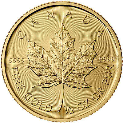 2016 1/2 oz Canadian Gold Maple Leaf .9999 fine (BU)