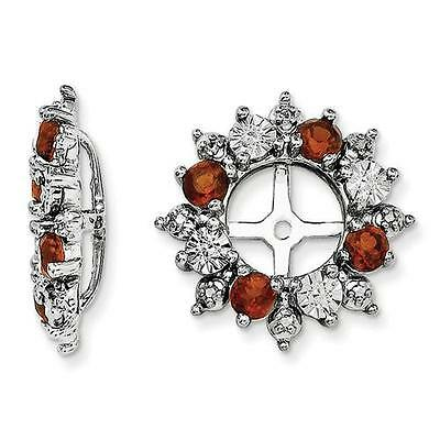 Platinum Sterling Silver Diamonds & Red Garnet Halo Earring Jackets For (Sterling Silver Earring Jackets For Diamond Studs)