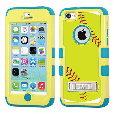 Hybrid 3-Layer Case (Yellow/Teal/Stand) for Apple iPhone 5C - Green Softball on Rummage
