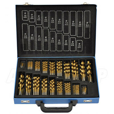 170 Piece Drill Bit Set In Metal Case - HSS Titanium TiN Coating Twist Drill
