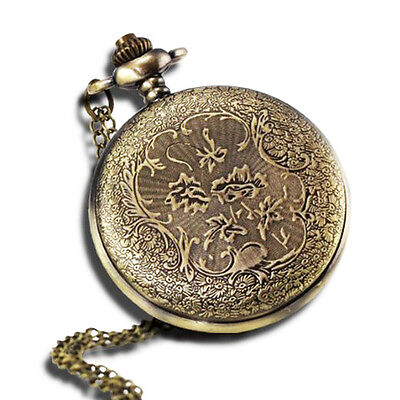 """Vintage Antique Pocket Watch with 31""""Chain in Antique Bronze Gold Finish"""