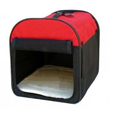 Transportin nylon caseta plegable portatil rojo mediano 60x48x50 cm
