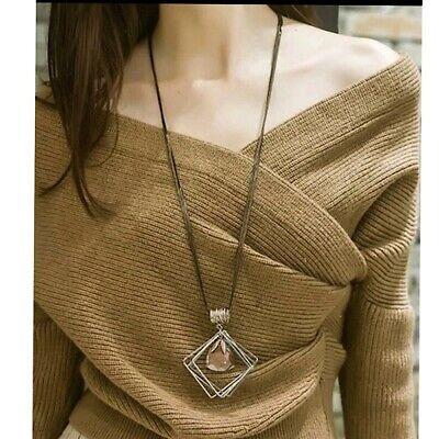 Nataliya Woman Crystal Layered Long Sweater Chain Bib Statement Pendant Necklace Crystal Bib Statement Necklace