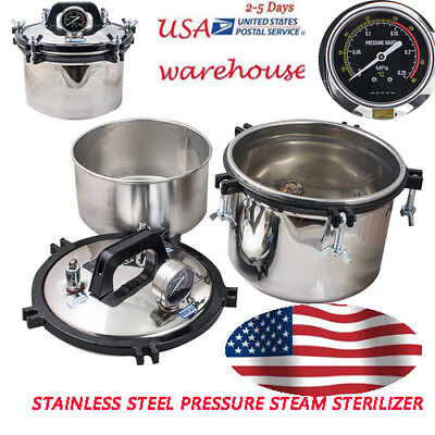 Usa 8l Steam Autoclave Sterilizer Dental Medical Pressure Gauge Sterilization