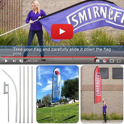 - Ground Spike Mount Stake + Feather Flutter Swooper Banner Flag Pole 16' Tall
