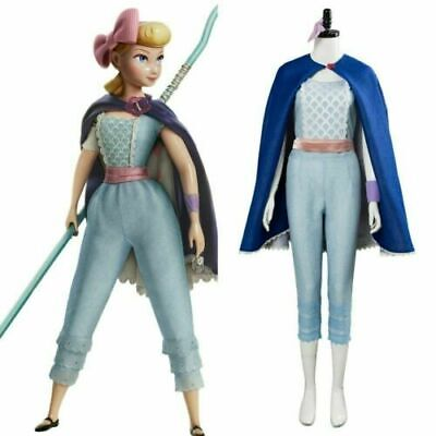 Toy Story 4 Bo Peep Halloween Cosplay Costume Adult Women Cloak Blue Dress - Bo Peep Toy Story Costume Adult