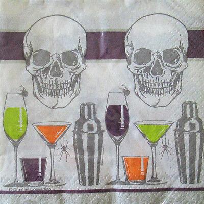 HALLOWEEN Skull Bar SMALL NAPKINS (16) ~ Birthday Party Supplies Serviettes Cake](Skull Party Supplies)